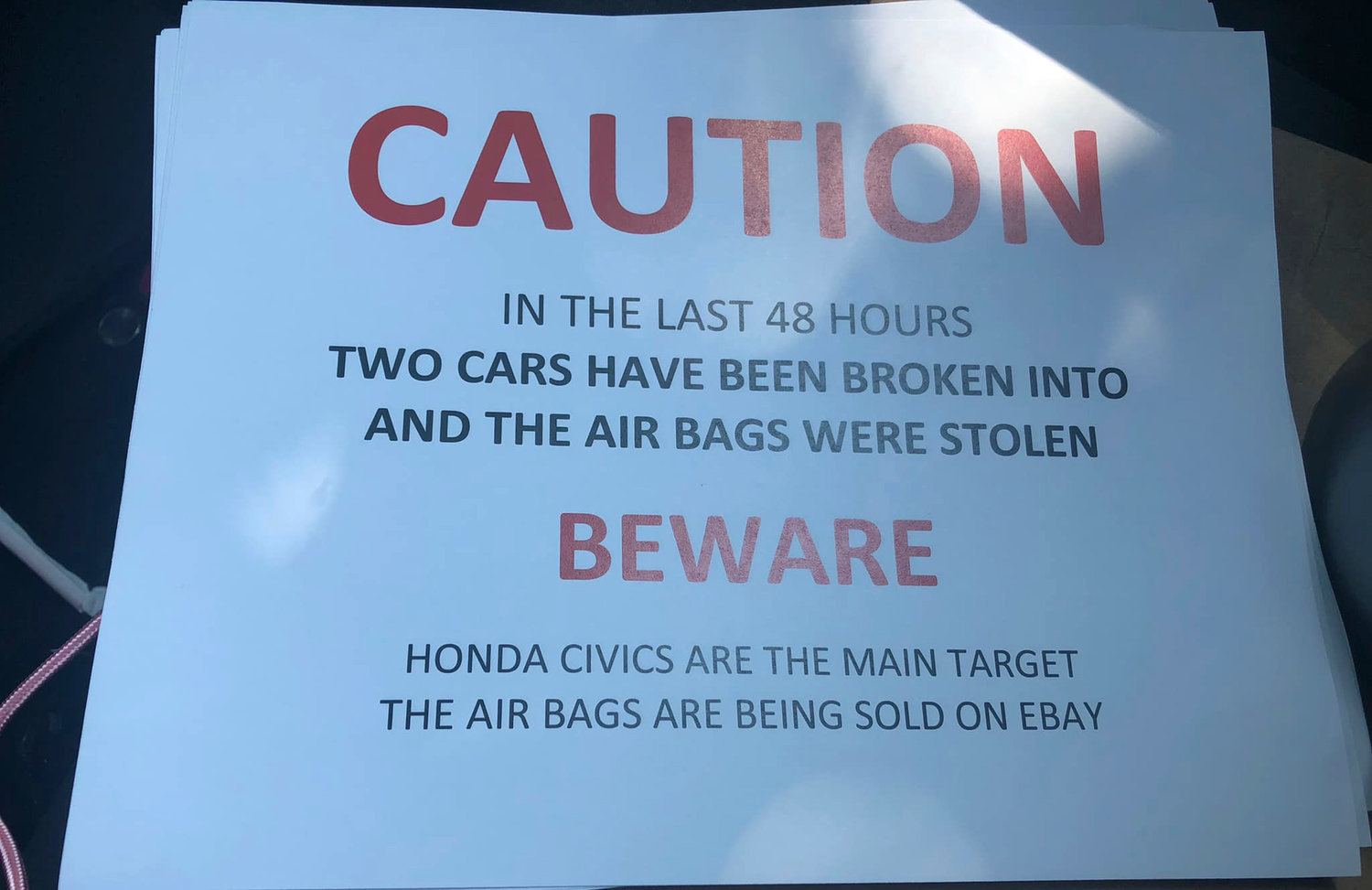 Signs warning residents of stolen airbags reportedly appeared at a municipal parking lot. Police confirmed that three airbags had been stolen out of Honda vehicles in Valley Stream this past week.