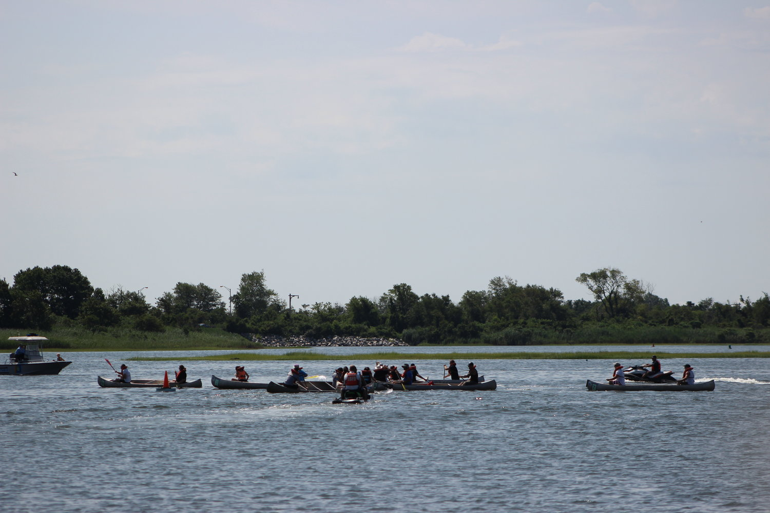 The Great Canoe Races held on Aug. 4 at Cow Meadow Park competitors were neck to neck during one of the races.