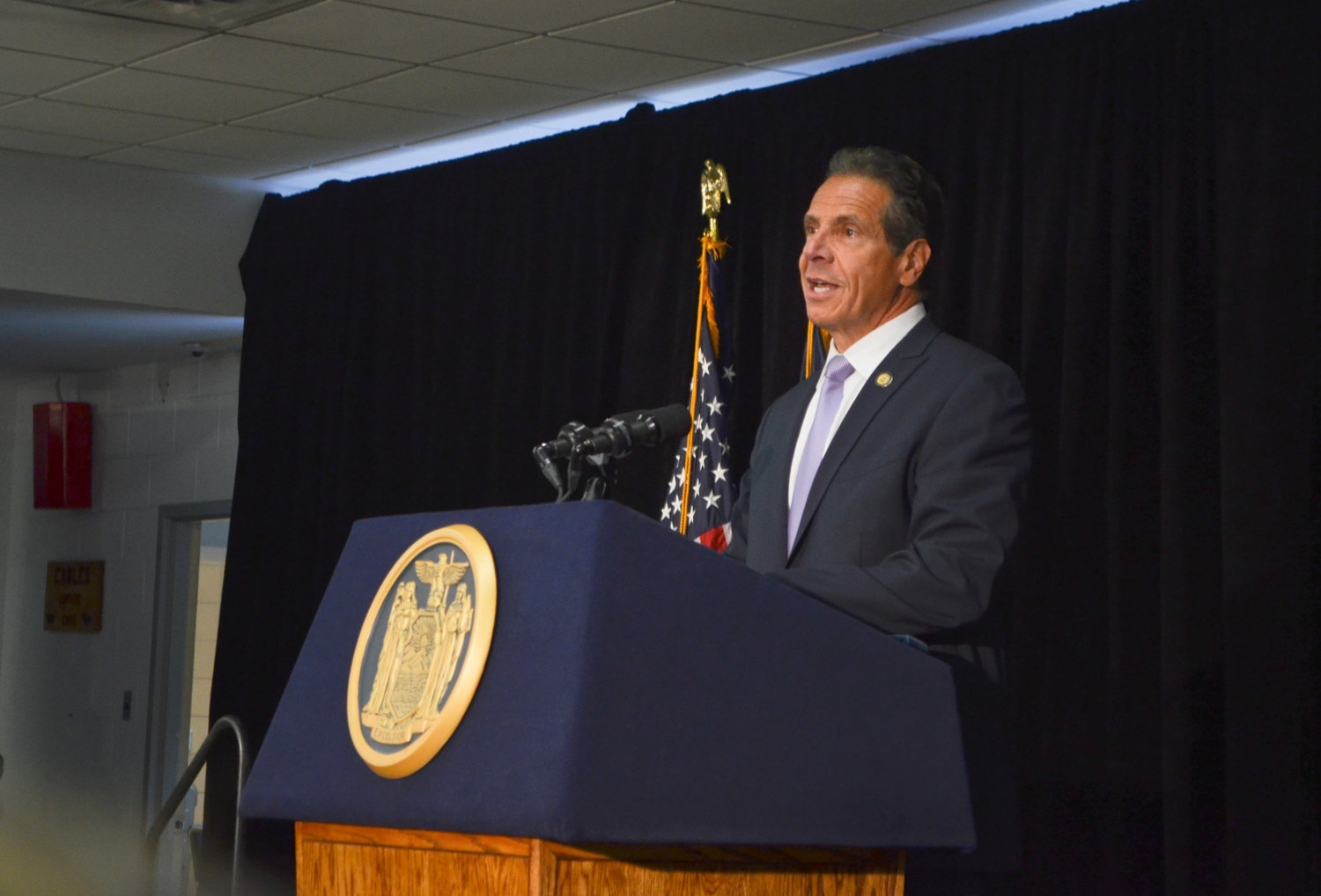 Gov. Andrew Cuomo announced Baldwin as the winner of a $10 million grant as part of the state's Downtown Revitalization Initiative at a press conference at Baldwin High School on Tuesday.