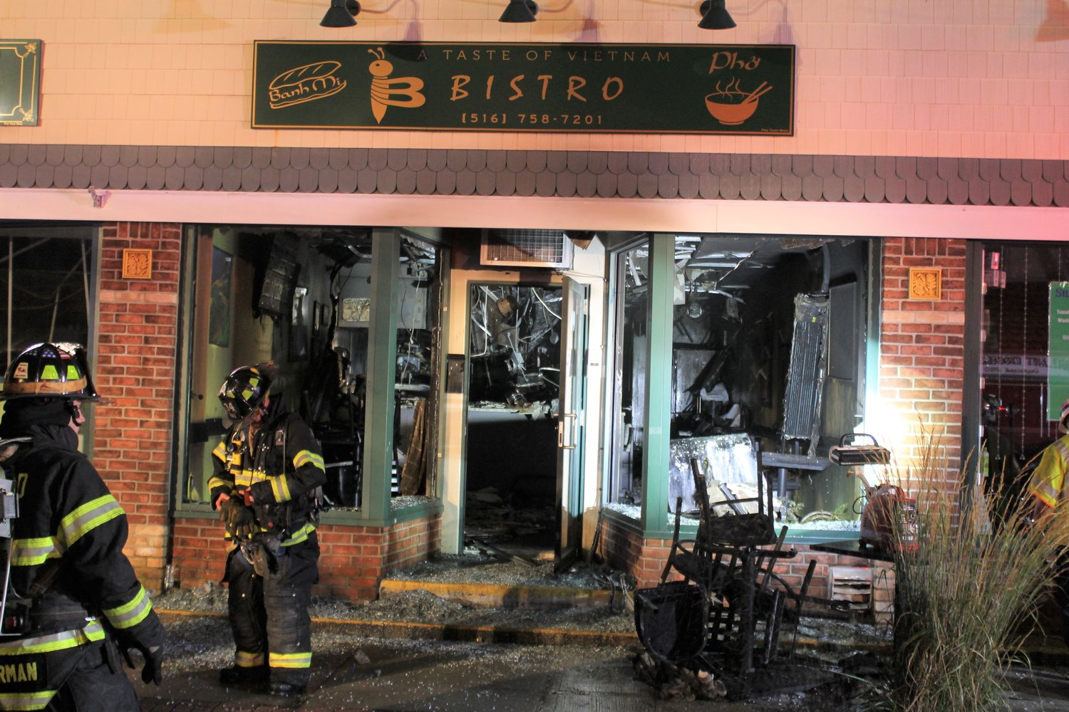 Frefighters rushed to extinguish a blaze at the Taste of Vietnam Bistro on Main Street on Aug. 8 at 1 a.m. The restaurant was severely damaged by the fire.