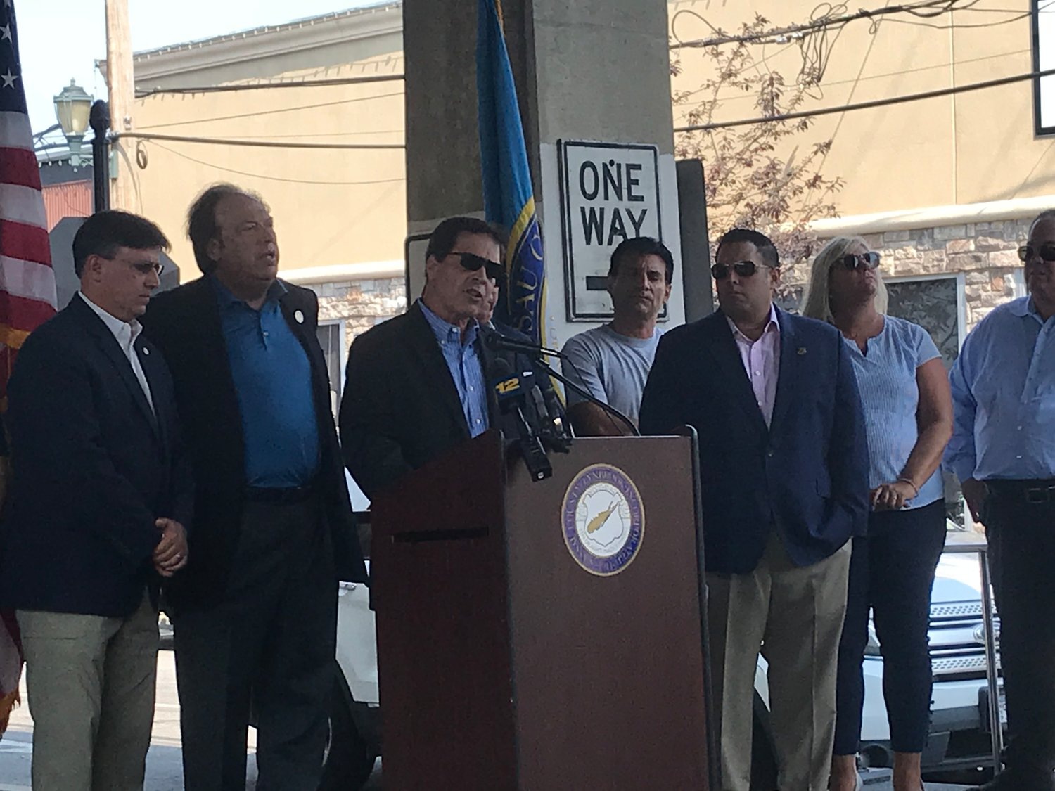 At a rally on Aug. 7, Lynbrook Mayor Alan Beach called on state officials, the Department of Environmental Conservation and National Grid to reach an agreement that would end a gas moratorium that has kept new businesses from opening in the village.