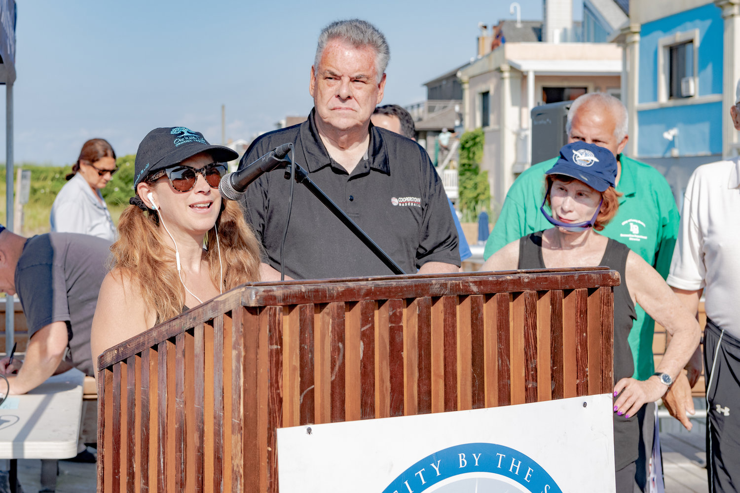 Larry Elovich's daughter Lisa, spoke at the annual Larry Elovich 5K Memorial Fun Run and Walk, alongside US Congressman Peter King and her mother Helen Elovich.