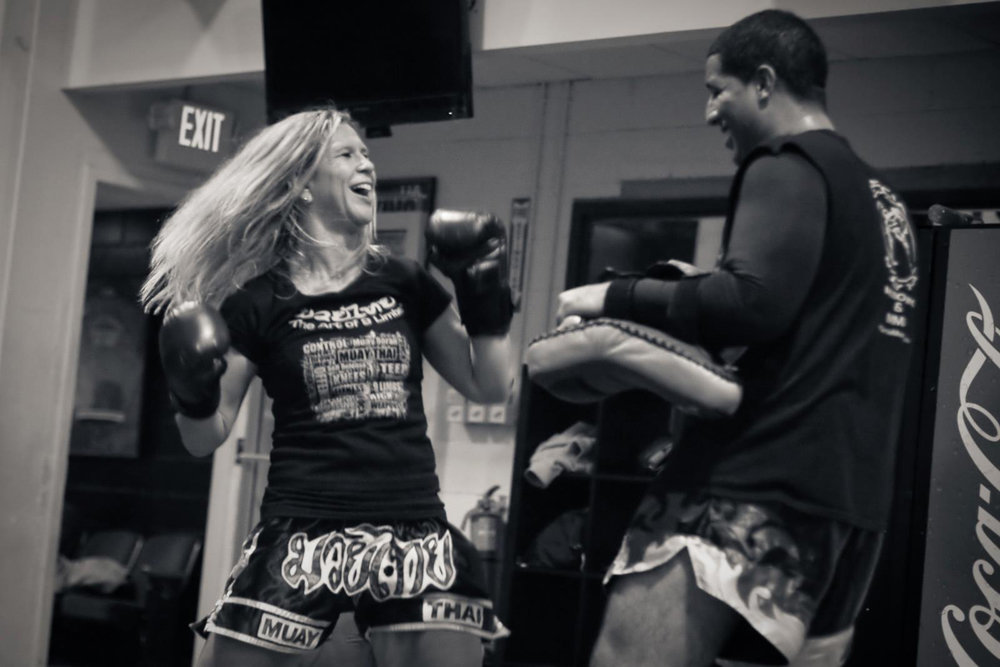 Lisa Margaritis came to find a love for teaching fitness and fighting at Garcia Muay Thai.