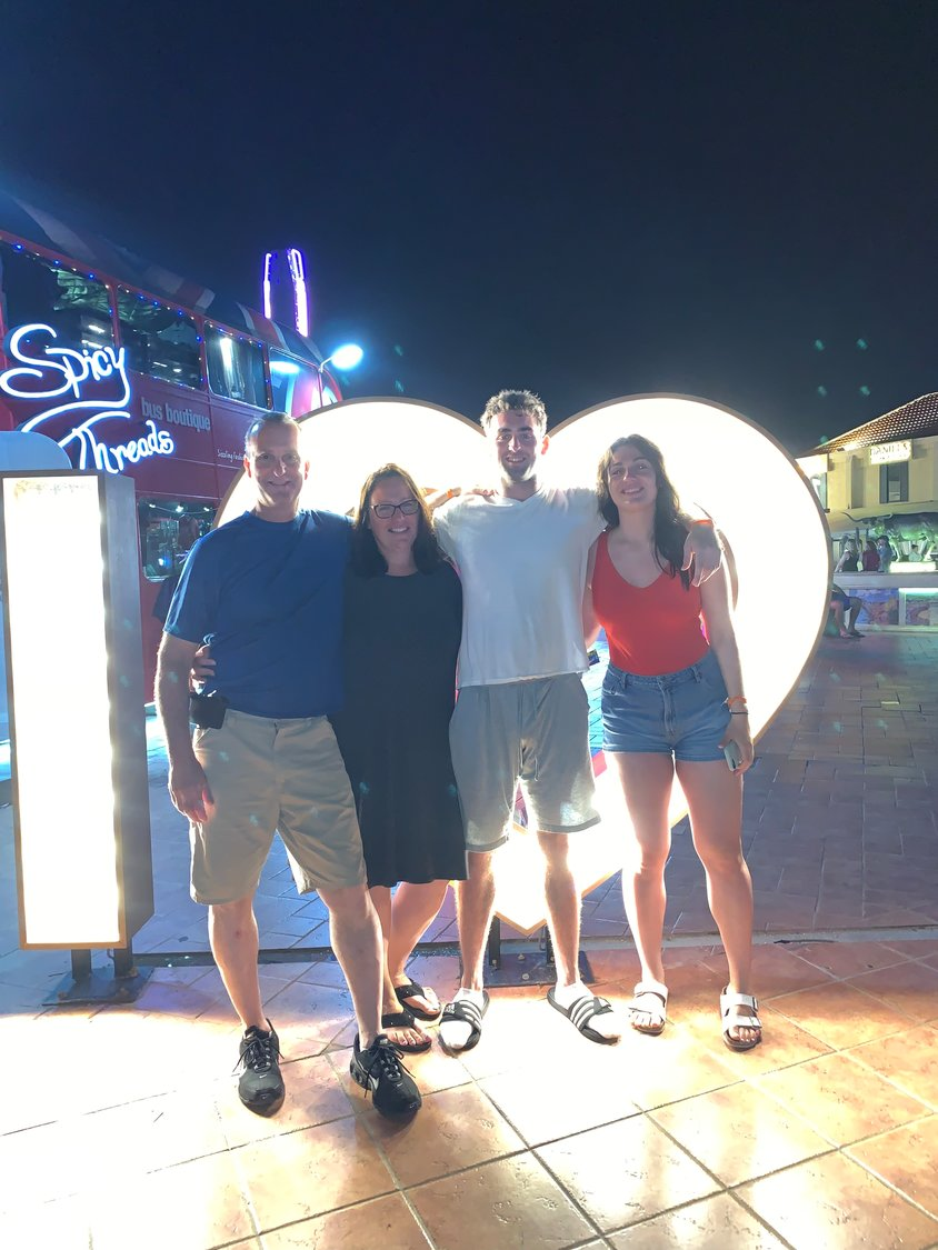 Anthony Mannino, left, with his wife, Debbie, and children Matthew and Samantha on a recent family trip.