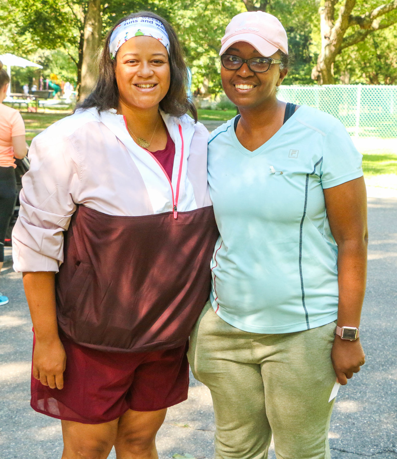 Assemblywoman Michaelle Solages, left, with Cellandia Bart-Teel, who after surviving a brain tumor has taken up running to maintain her health.