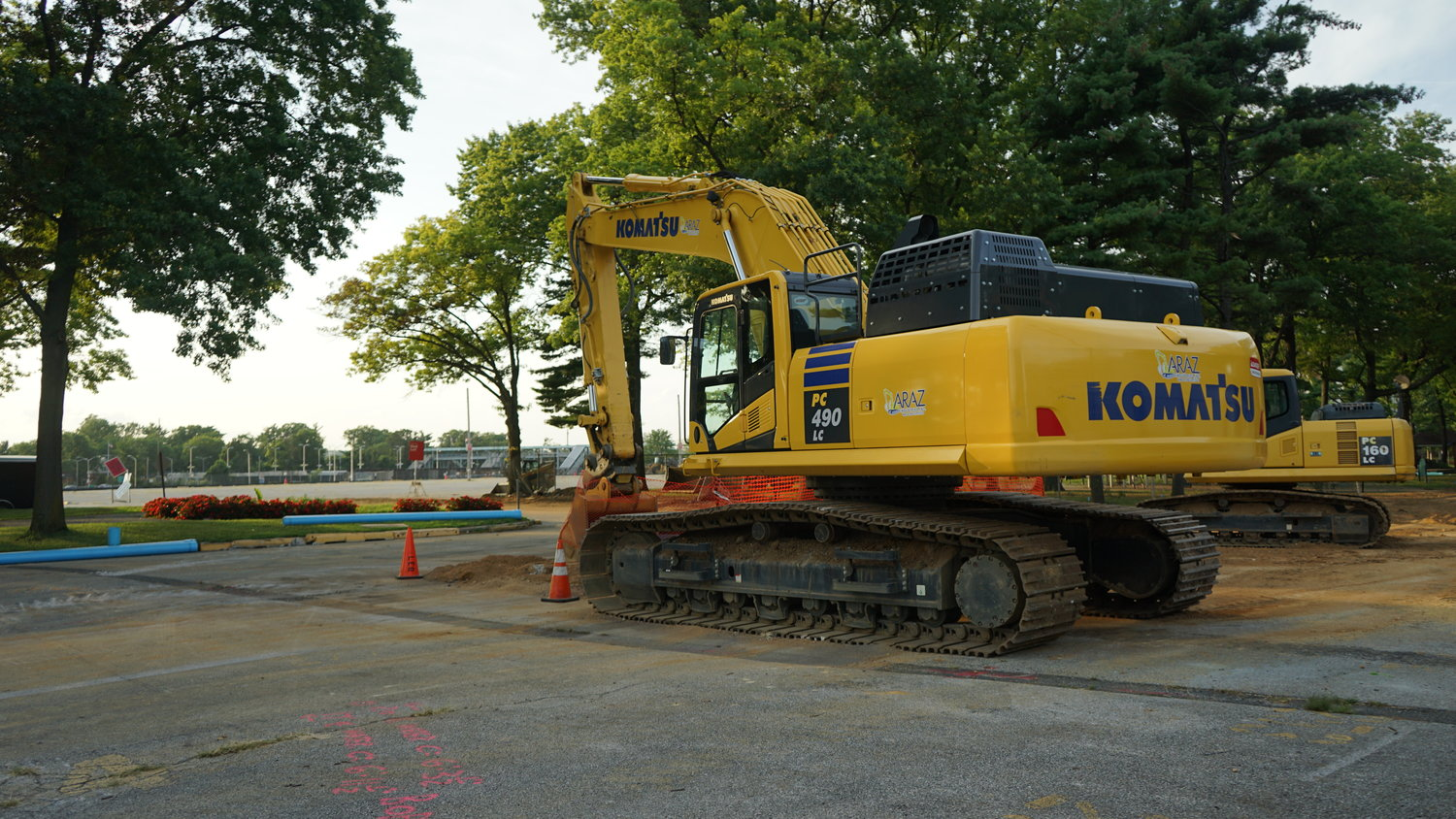Equipment is already in place at Belmont Park, in preparation for construction, which is expected to begin next month.