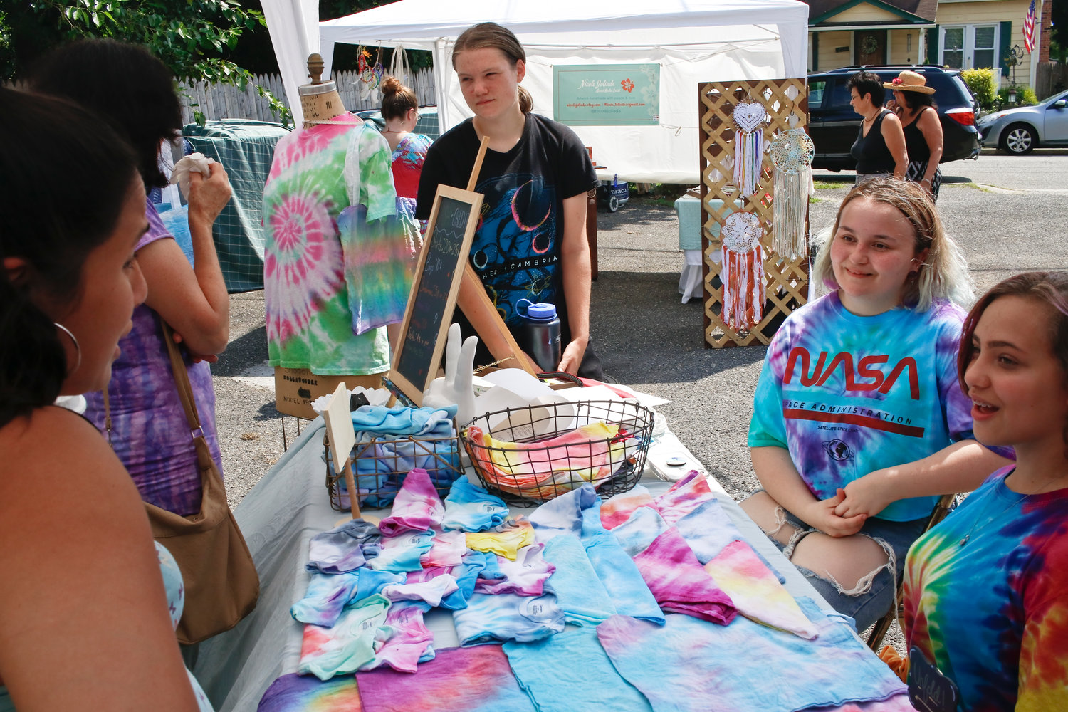 Handmade tie-dye clothing was sold by Allie Merle, Elizabeth Baldino and Amy Sofikitis.