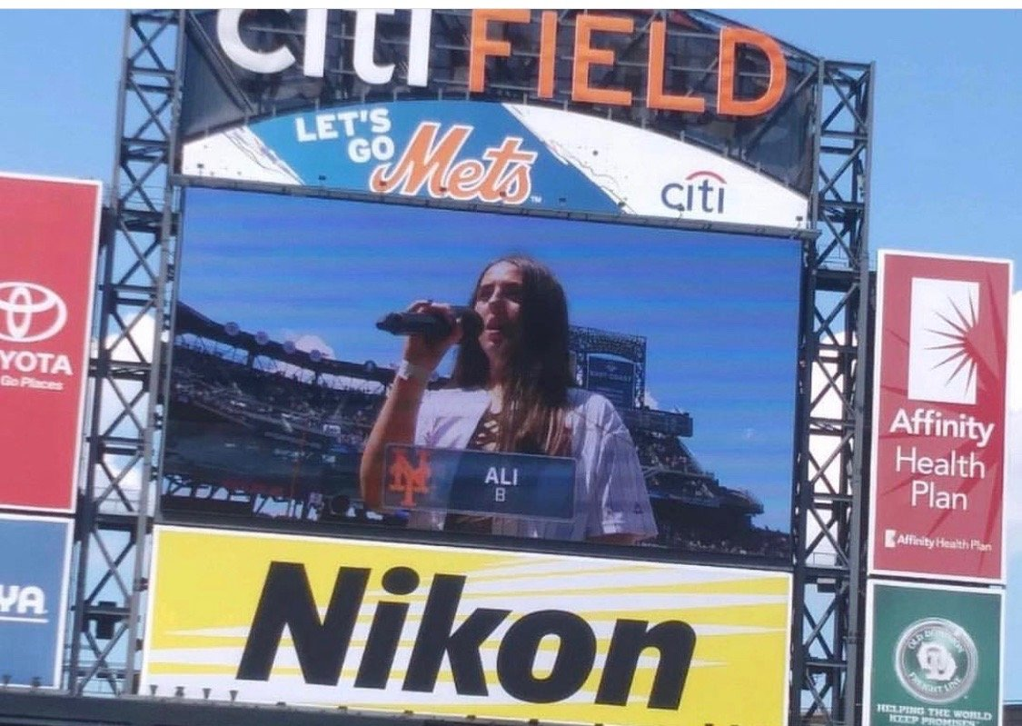"Berke performed ""God Bless America"" at a Mets game at Citi Field in 2017."