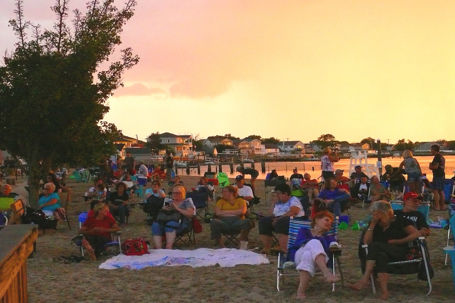 Dozens of Island Park residents came to Masone Beach on Aug. 9 for a concert by Captain Jack, a Long Island-based Billy Joel cover band.