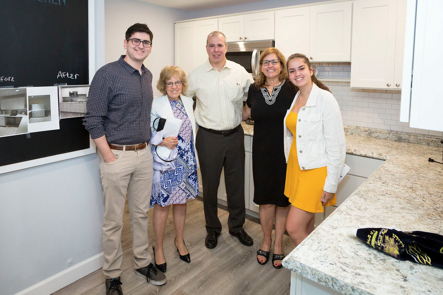 Temple Hillel dedicated a newly redesigned minyan kitchen in the memory of deceased synagogue member Victor Spetalnick. From left were Matt Siegel, Barbara Spetalnick and Marc, Abby and Lauren Siegel.