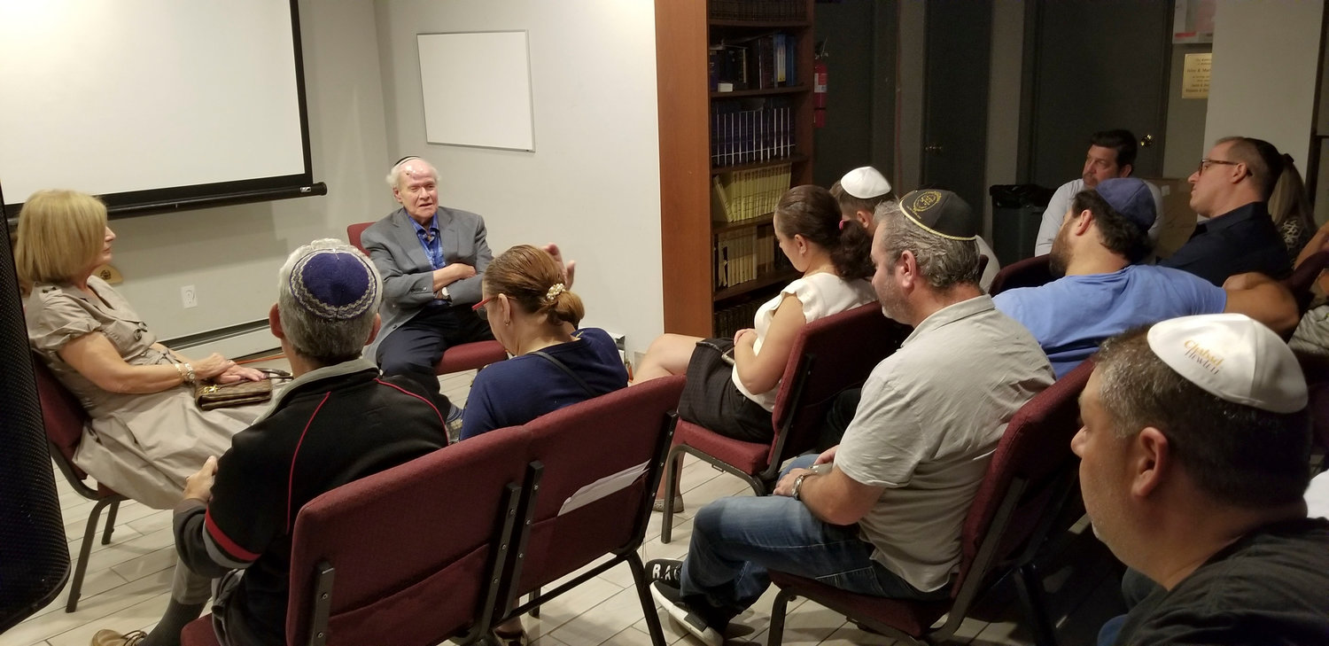 Holocaust survivor Fred Lifschutz, a Woodmere resident, spoke about the life-saving rescue he was apart of as a child at the Chabad of Hewlett on Aug. 10.