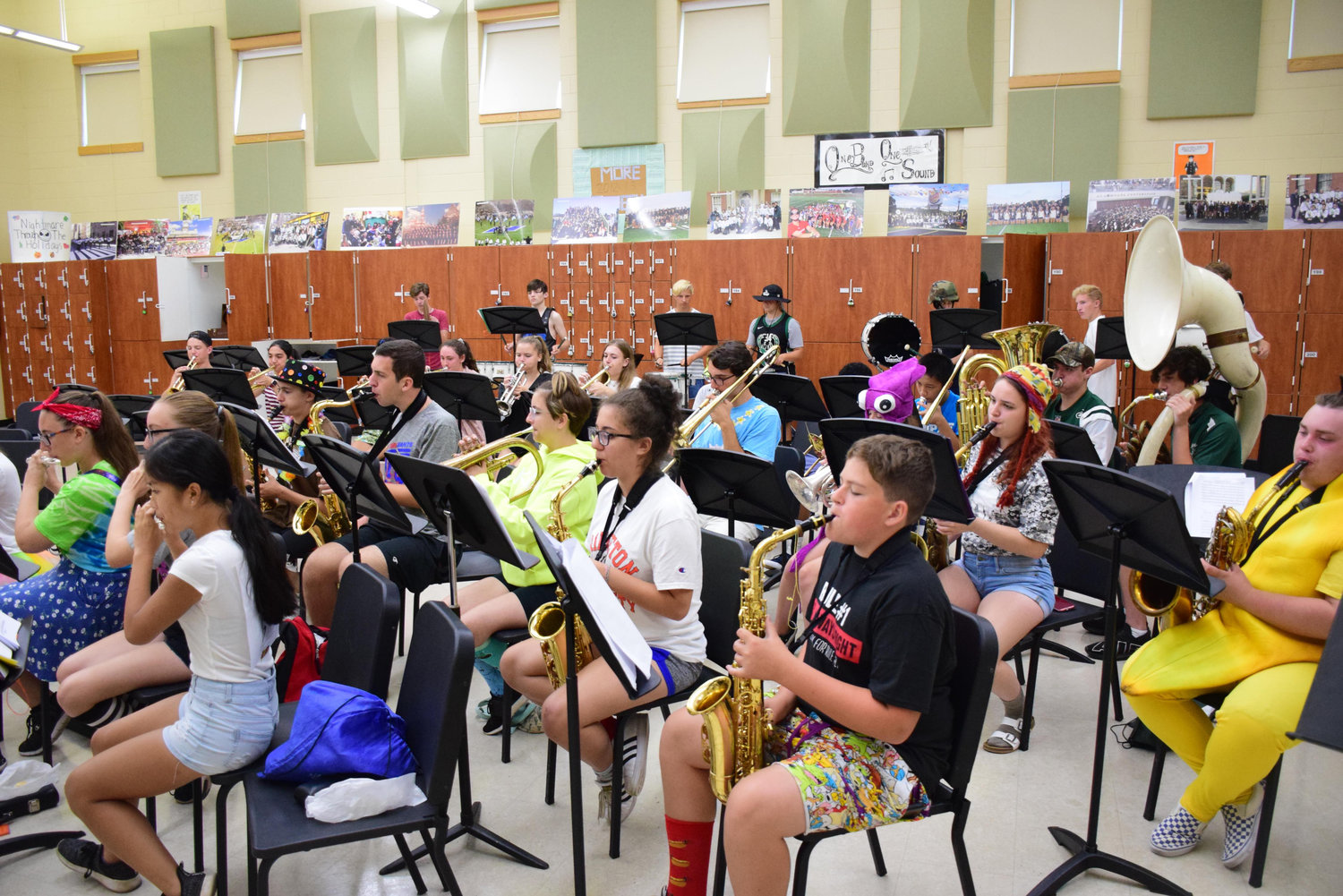 The Seaford High School marching band rehearsed for its spy-themed show during annual summer band camp, held mat the school from AUG. 5-9.