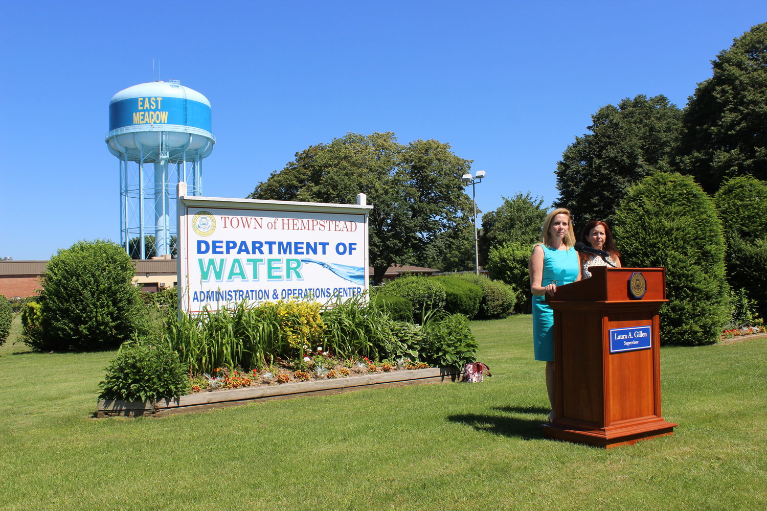 Town of Hempstead Supervisor Laura Gillen announced on July 3 her plan to sue the manufacturers she said were responsible for polluting the town's water with 1,4-dioxane, a potentially harmful chemical. She was joined by Adrienne Esposito, director of the Citizens Campaign for the Environment, at the Town of Hempstead Water Department in East Meadow.