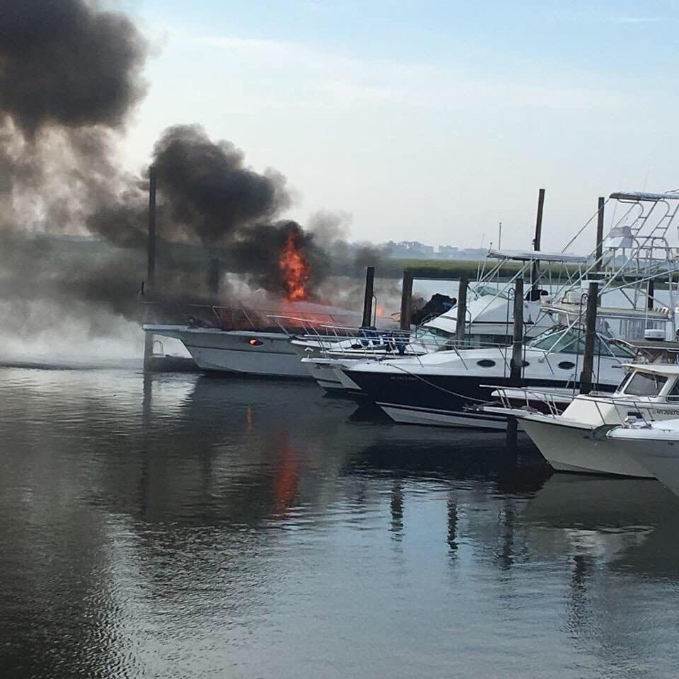 A fire sank one boat sank and two suffered minor damage at the Keystone Yacht Club in Woodmere on Aug. 22.