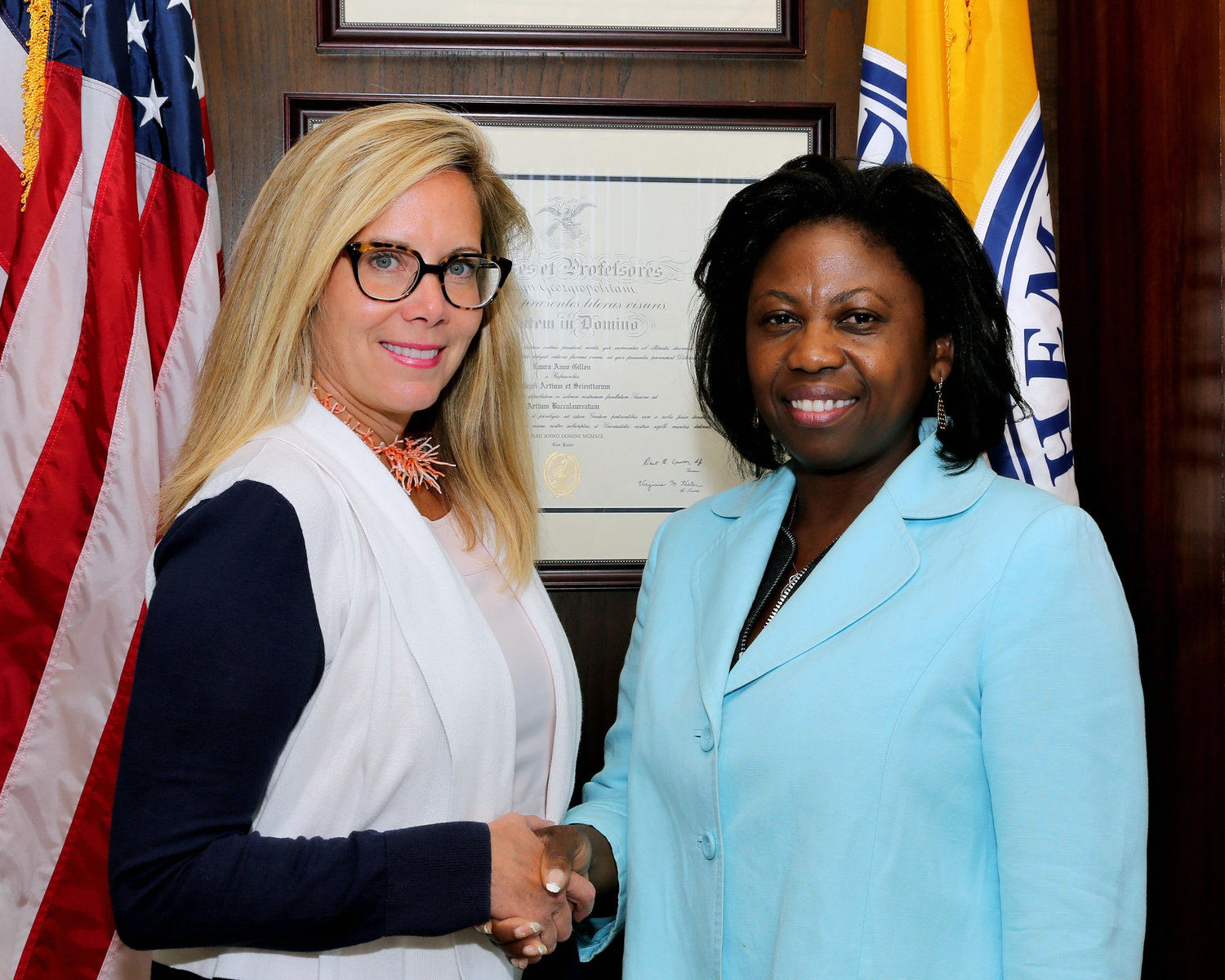 Town of Hempstead Republicans claim that the appointment of Elmont resident Averil Smith, right, as acting comptroller violates civil service law. Supervisor Laura Gillen, left, made the appointment recently.