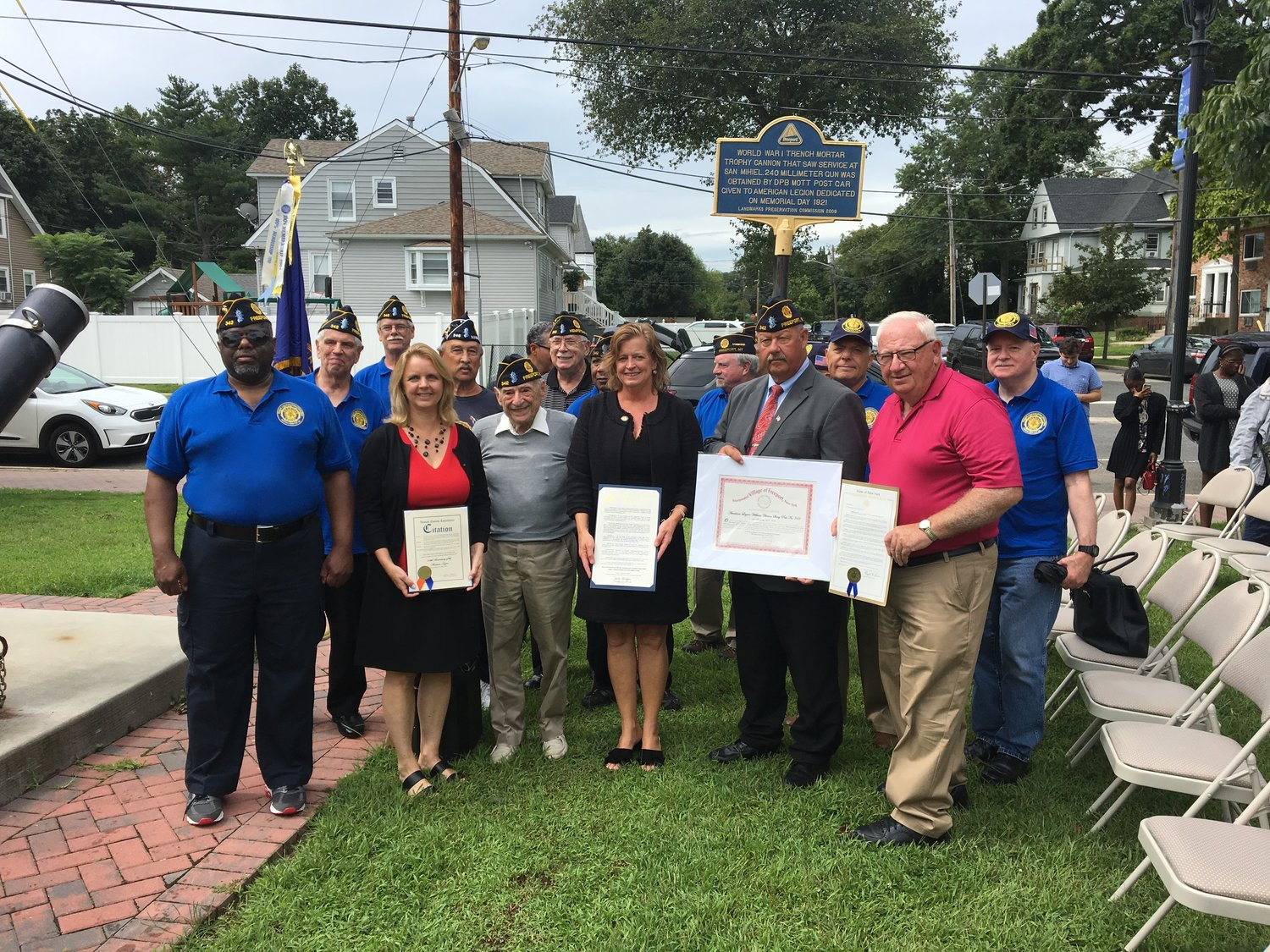 Local elected officials stood with veterans as they were presented with citations and proclamations recognizing the 100th anniversary of the Baldwin and Freeport American Legions.