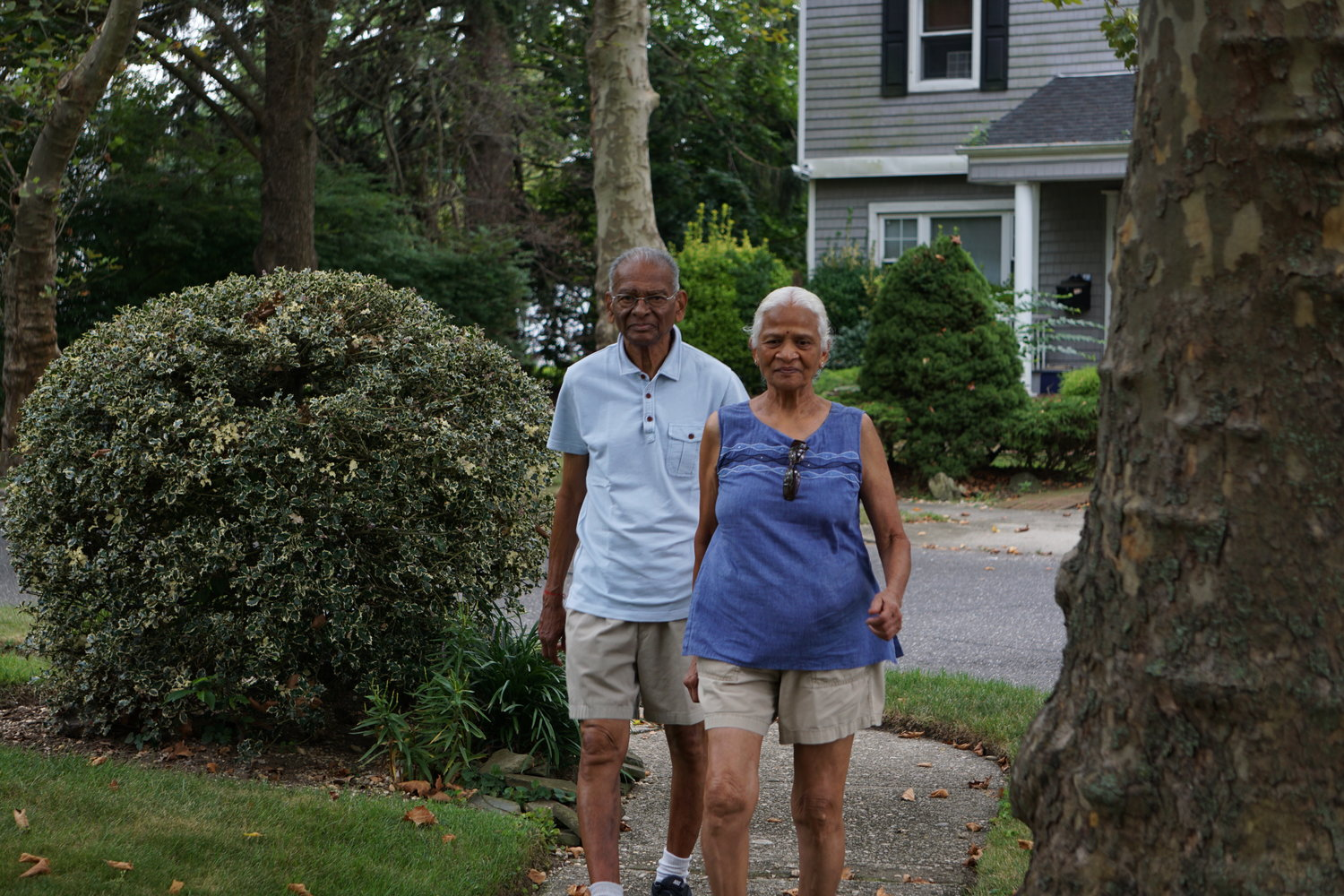 Anirudh Shah, 85, and Subhadra Shah, 80, walk 10,000 steps per day in East Rockaway.