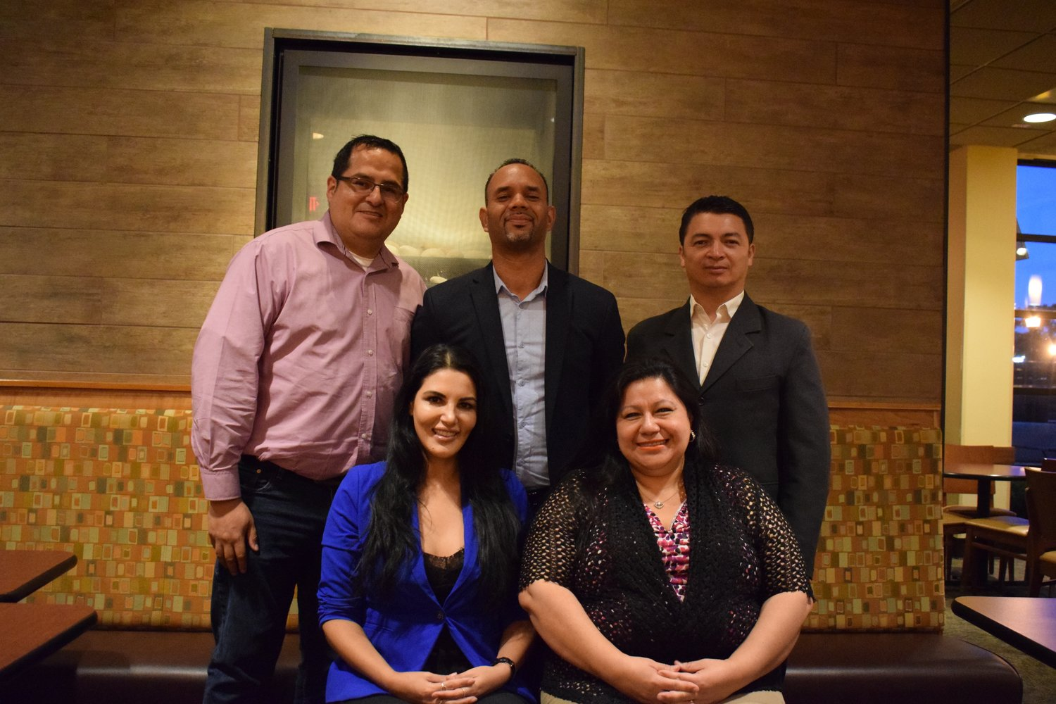 From Top left, James Barron, Gabriel Rodriguez, Ever Padilla, and bottom left, Annie Spiers and Elsa Valle plan to officially debut the North Shore Hispanic Chamber of Commerce of New York in September.