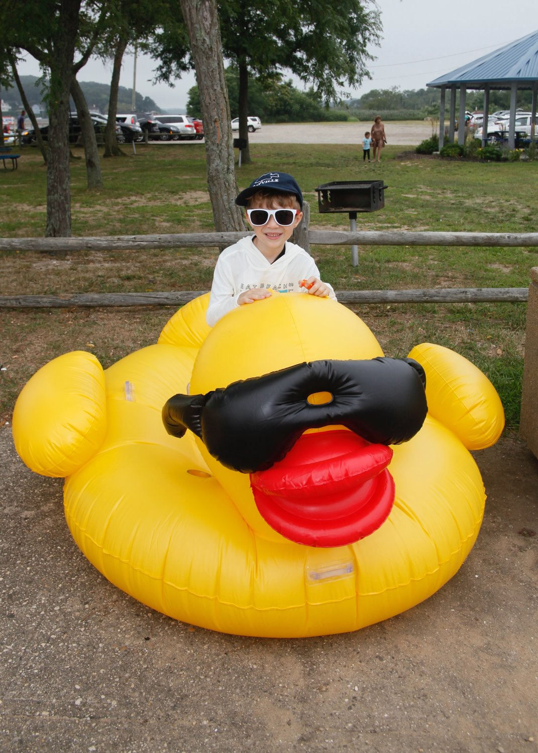 Andrew Themis pretended he was riding the big duck.