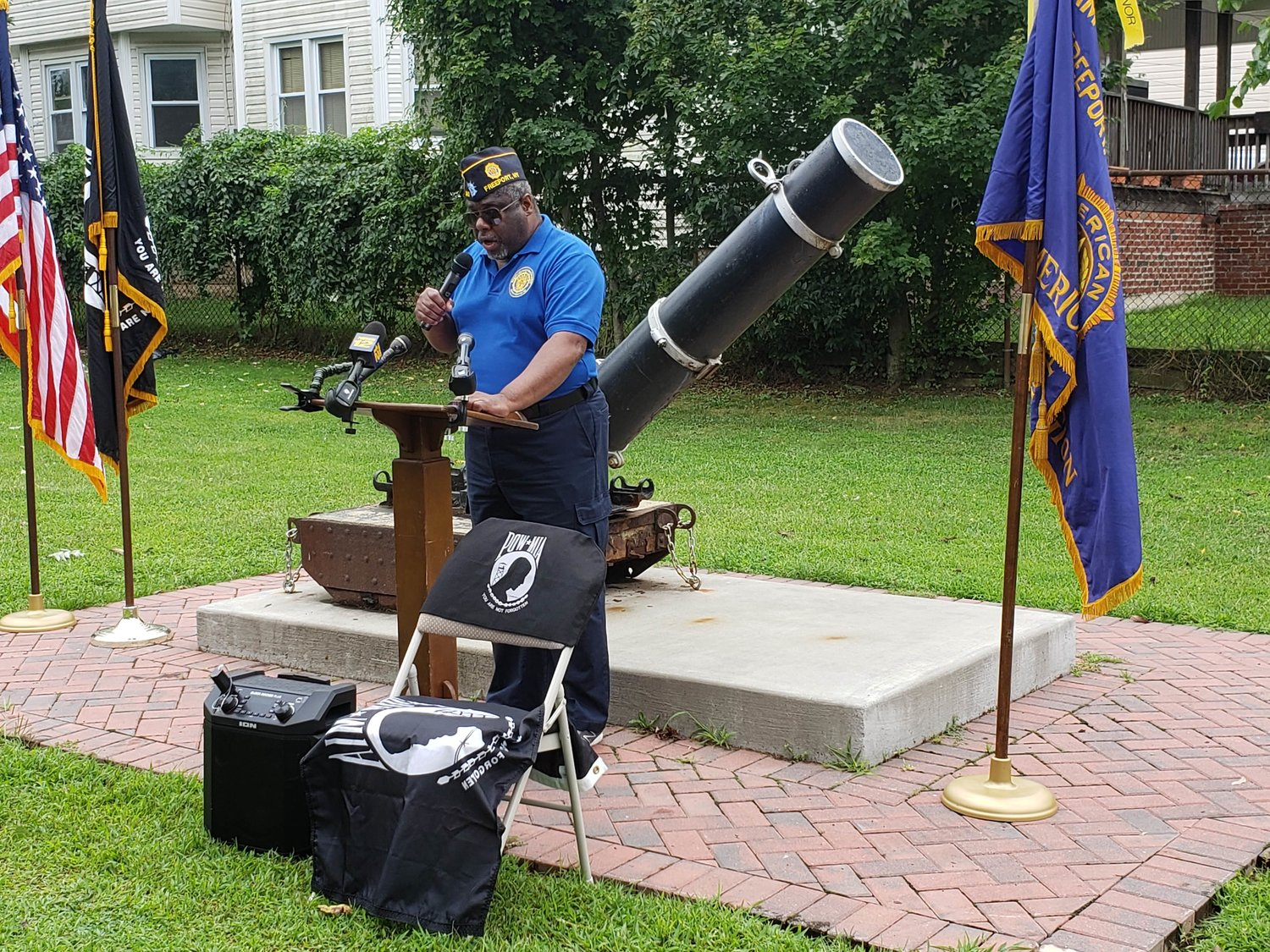 David Cockerel, adjutant and former commander of Freeport's William Clinton Story American Legion Post 342, spoke about the history of the American Legion at a ceremony commemorating its centennial last Friday.