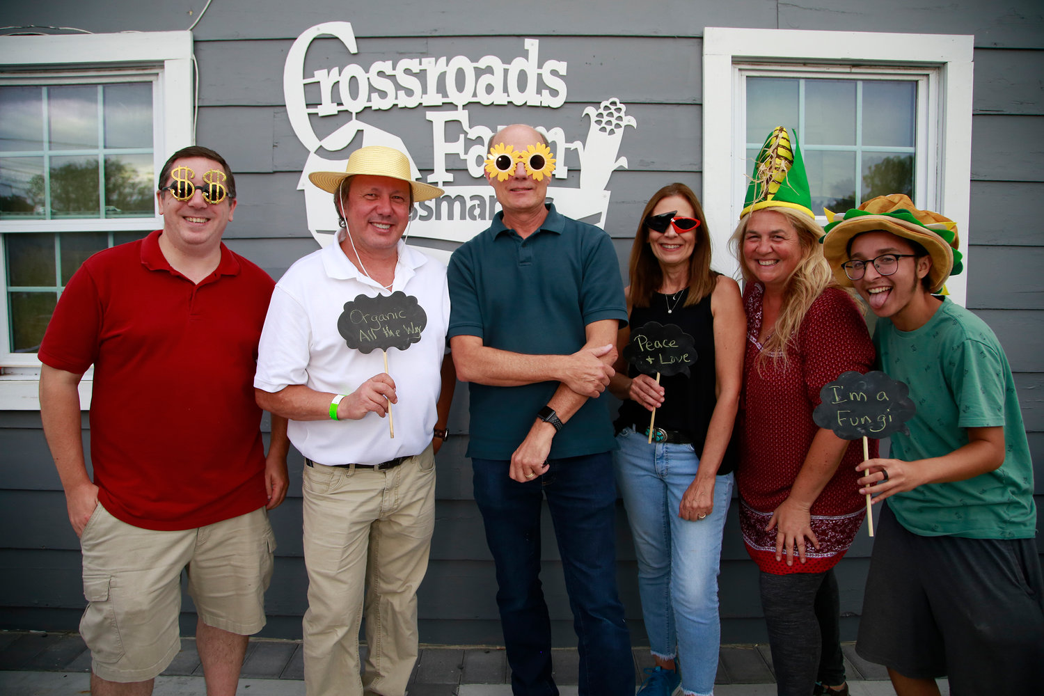 Crossroads Farm members, from left, Steve Brosnittan, Hall Schwartz, Rick White, Judi Consigli, Eva Schwartz and Ray Pisacane hosted the L.I. Food & Drink Sampling Event fundraiser in Malverne on Aug. 23.