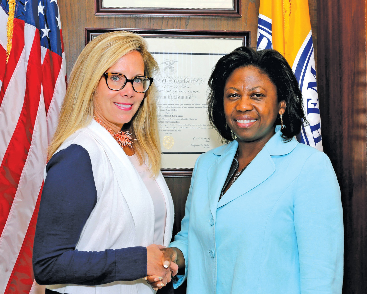 Town of Hempstead Supervisor Laura Gillen appointed Elmont resident Averil Smith to the role of acting comptroller on Aug. 26.