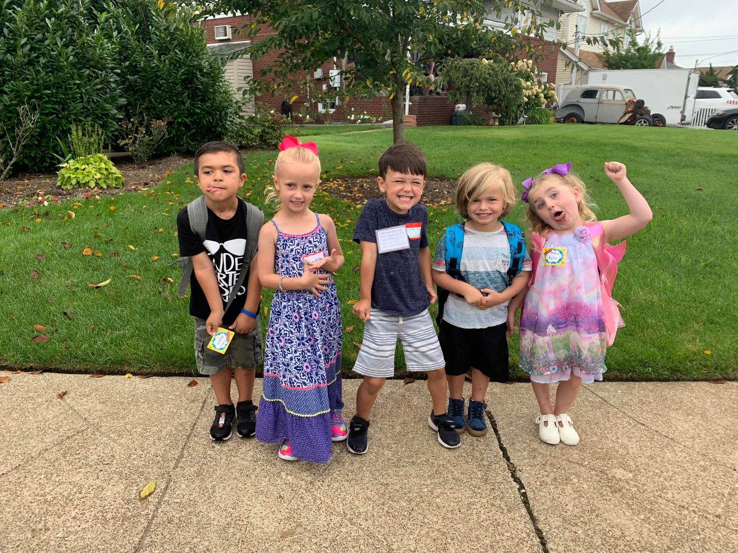 Wednesday marked the first day of kindergarten for, from left, RJ Plant, Charlotte Weiss, Timmy Pyle, Trent Tortorella and Kylie Harper at Francis X. Hegarty Elementary School.