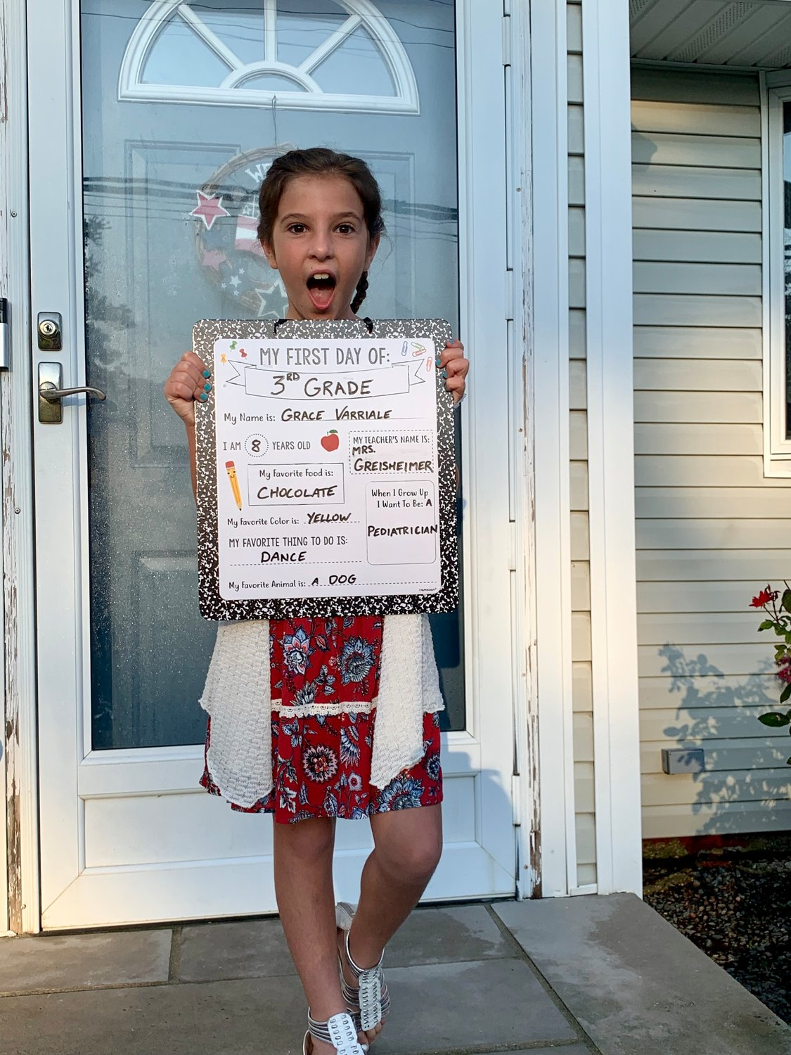 Grace Varriale was excited to start third grade at Oceanside School No. 4.