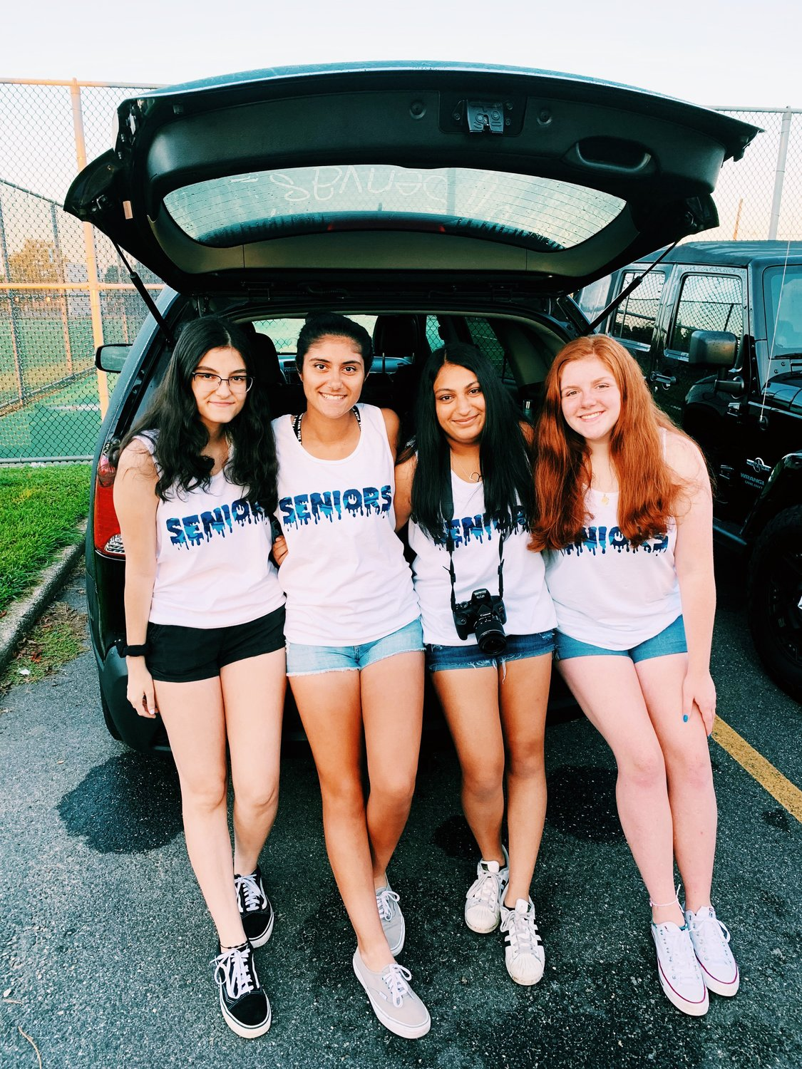 Oceanside High School seniors, from left, Elana Pocress, Annalisa Milano, Ria Mehta and Karis Lynch prepared for their final first day of school.