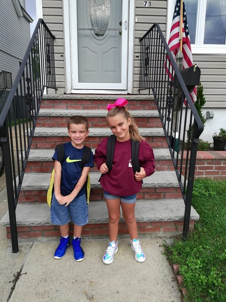 Frank and Grace Palombo prepared to enter first and third grade, respectively, at Rhame Avenue.
