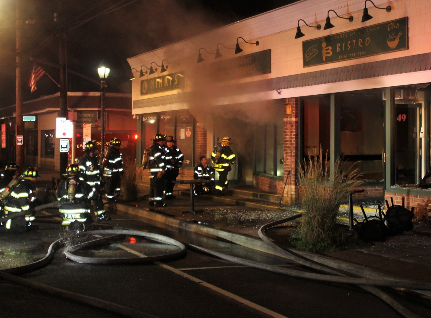 Firefighters rushed to extinguish the fire at the businesses that night after receiving a call around 1 a.m.