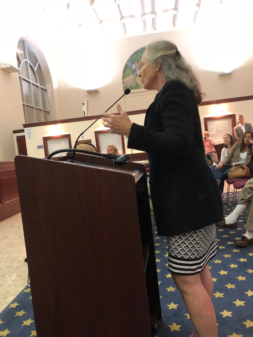 Nancy Hawkins expressed her concerns over the postcards during a City Council meeting on Aug. 27.