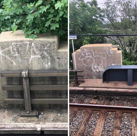 Commuters have spotted graffiti tags along the walls of the railroad platform while waiting for their trains this summer.