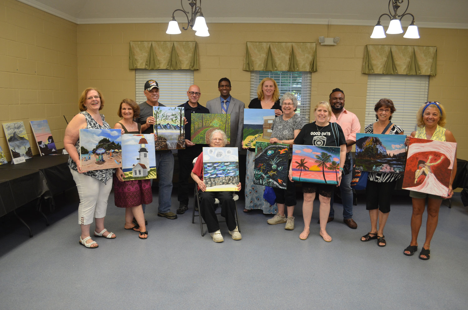 Students of the village Recreation Department's acrylic painting class showed off their finished works. The 10-week course demonstrated to them the fundamentals of working with acrylic on canvas.