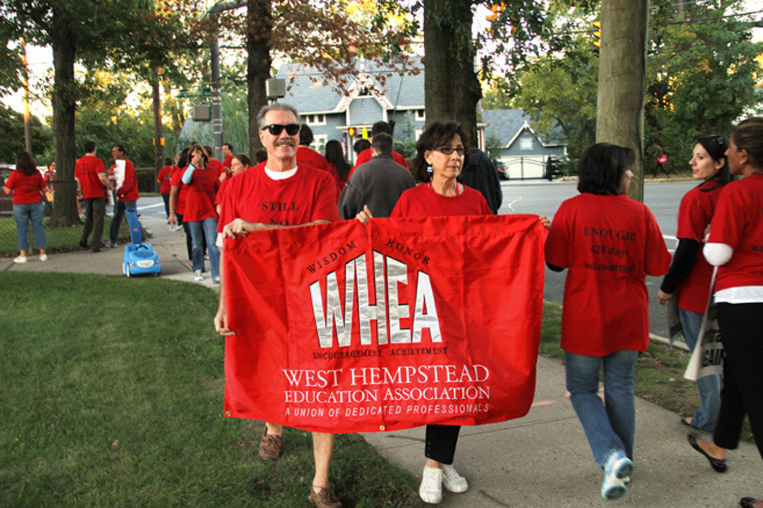 Hafner, then the president of the West Hempstead Educators Association, and her husband, Emil, took part in a rally against the Board of Education in 2010.