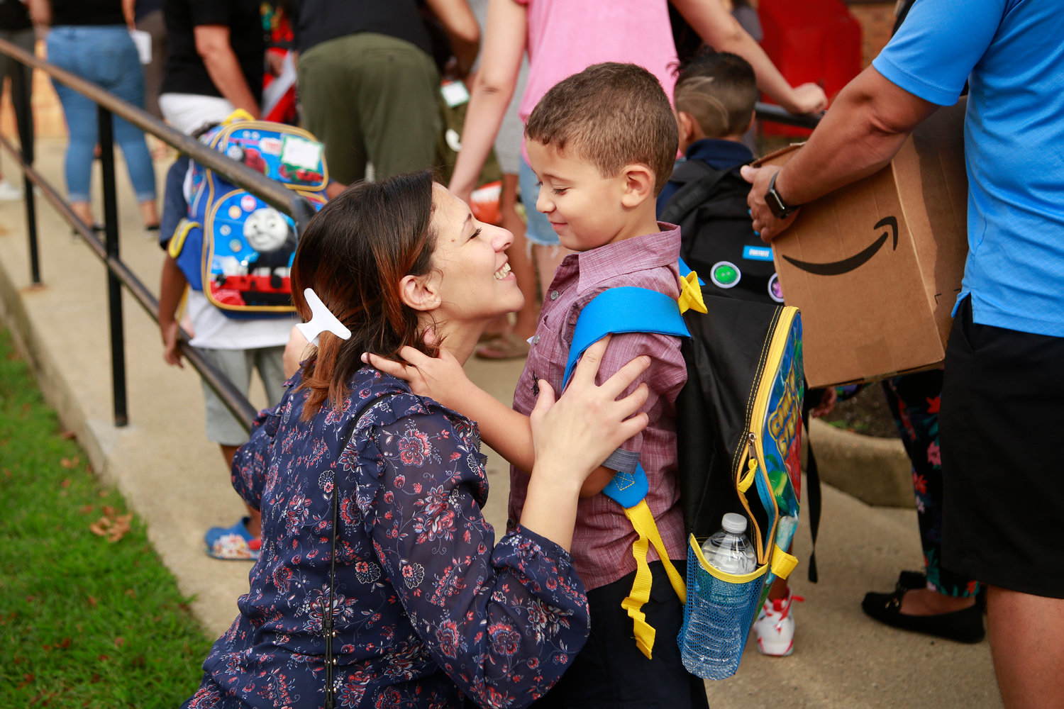 Sabrina Meftali shared a moment with her son, Aydin Remouche, as he started his first day of kindergarten.