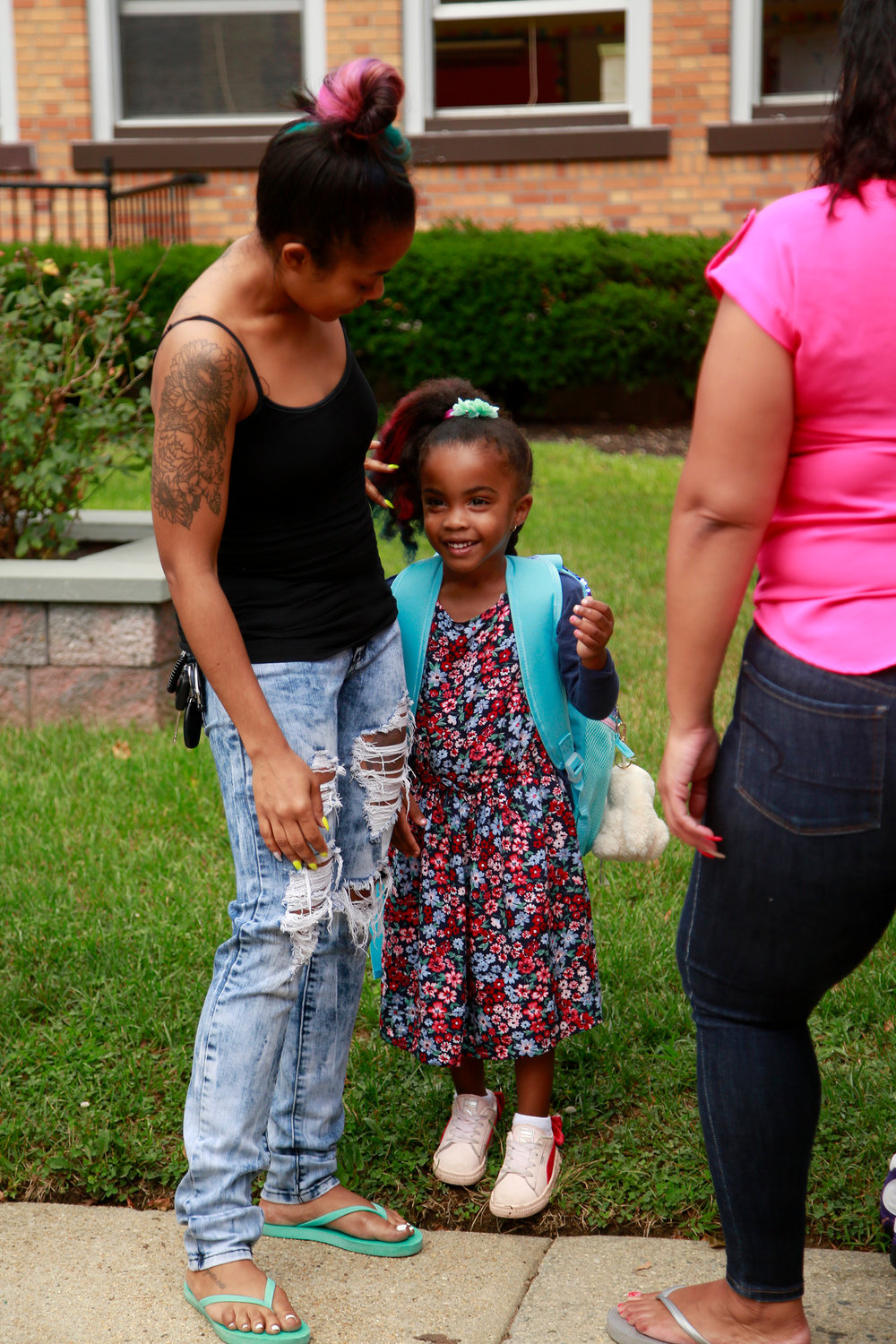 Emelia Jenkins and her mother, Cherice, were ready for the school year to begin.