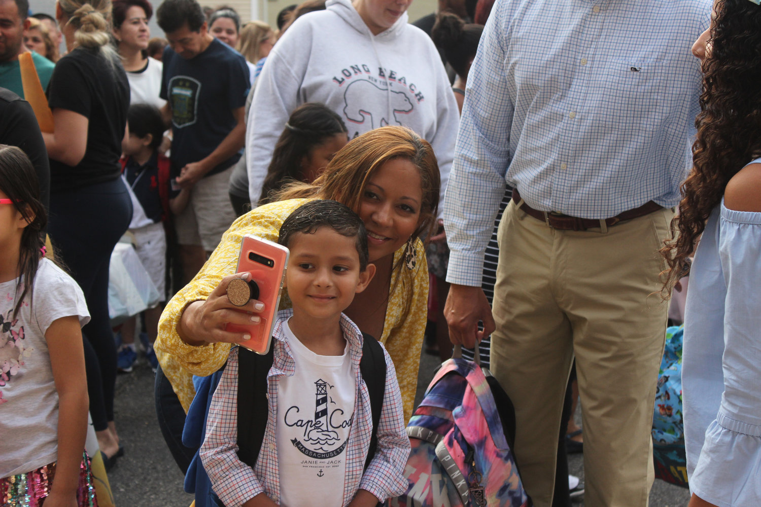 Melissa Fernandez took a selfie with her son, Logan, before his first day of school at Chestnut Street School on Sept. 4.