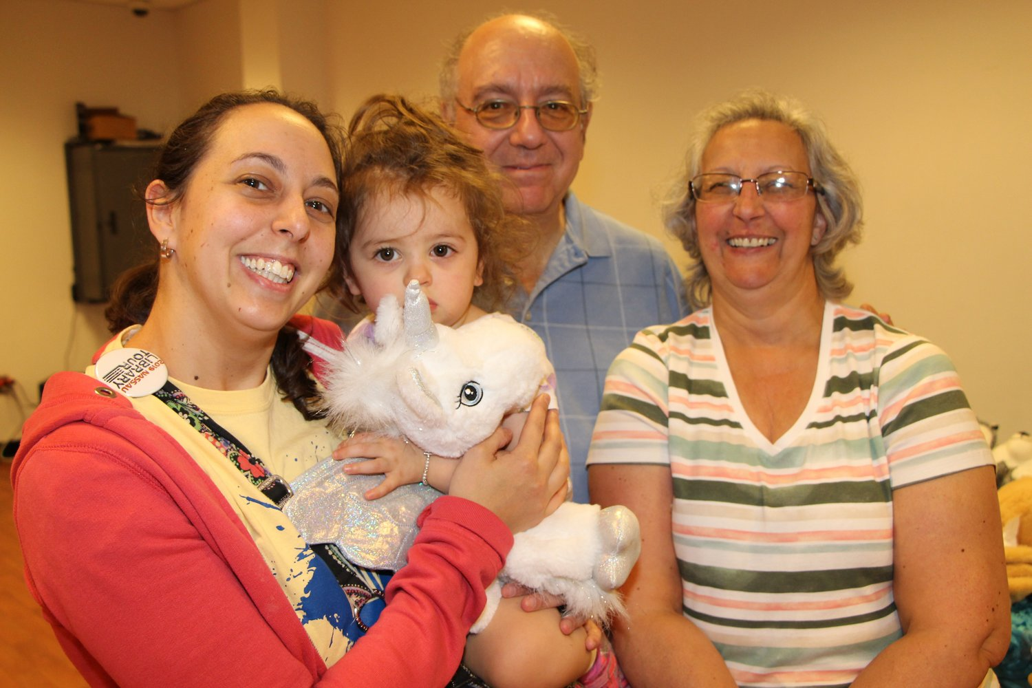 Emily Trezza, left, brought her one-year-old daughter, Aurora, and her grandparents Danny and Janet Trezza to celebrate Grandparents Day.