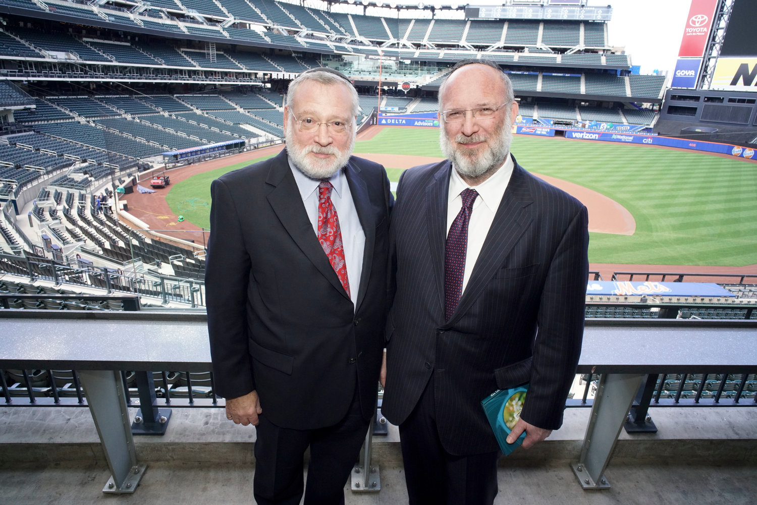 Orthodox Union Executive Vice President Allen Fagin, a Woodmere resident, left, and OU President Moishe Bane, of Lawrence, at the 2018 Torah New York at Citi Field.