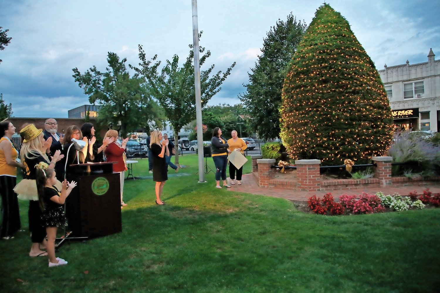 Susan Boland and Dee Murray lit the Pediatric Memorial Tree.