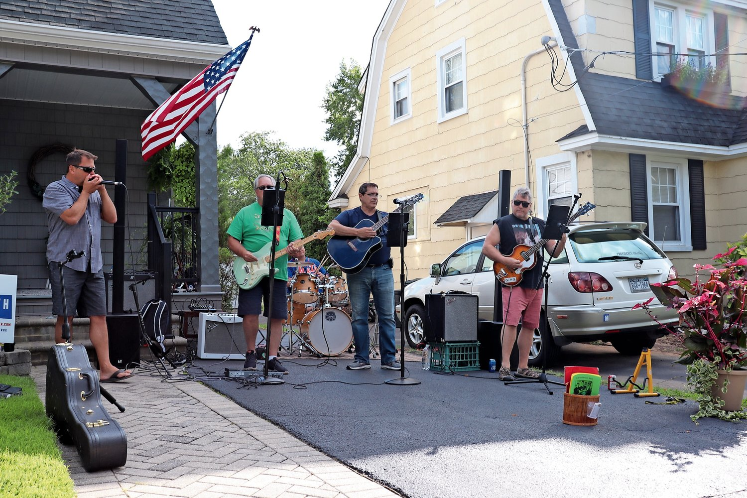 The Second Street Band rocked out on Raymond Street at the home of Nancy Ricupero.