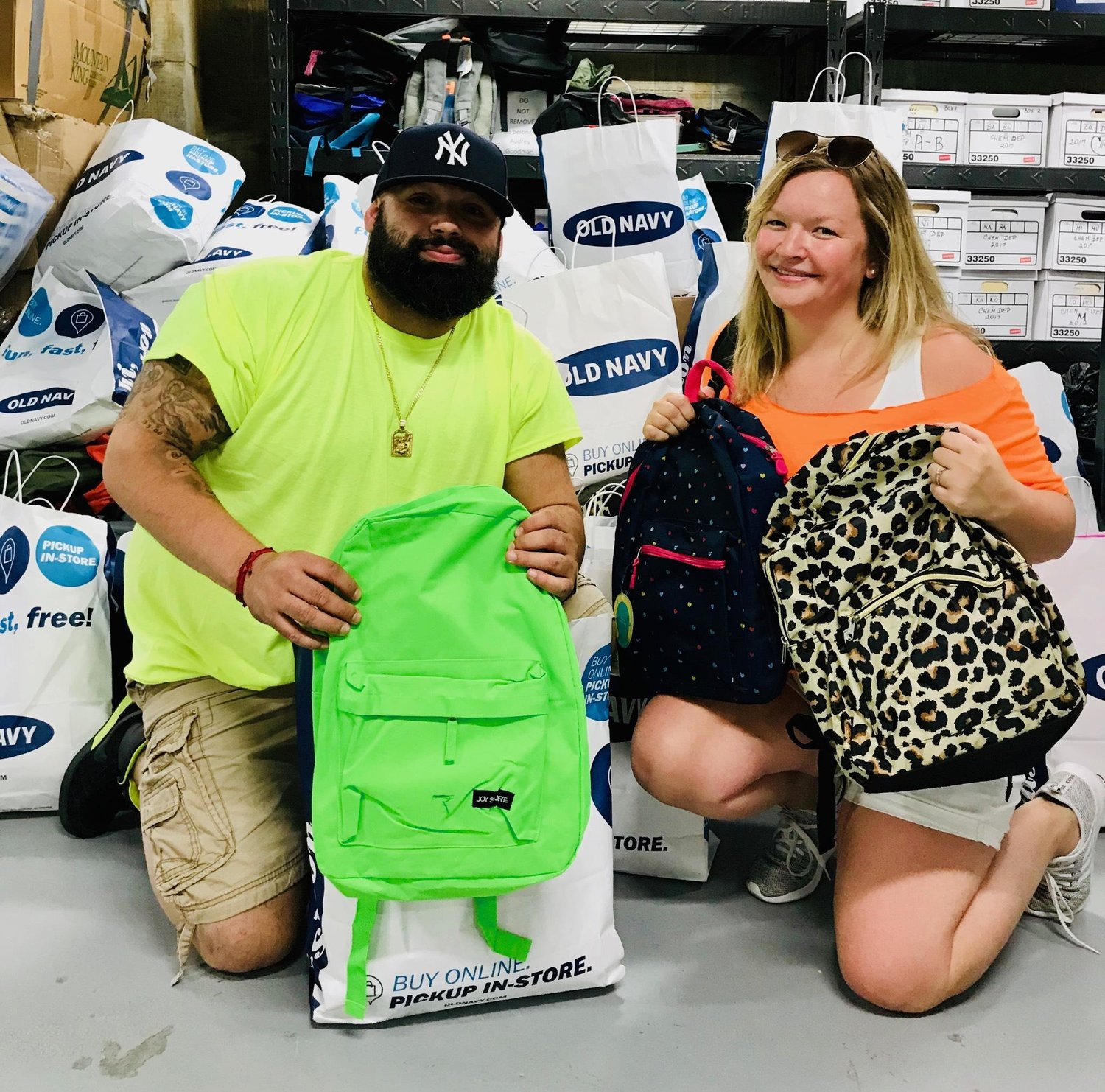 Old Navy donated more than backpack filled with school supplies to the New Horizon Counseling Center. Joseph Delgado, manager at College Point Old Navy and Stacey Engebrethson, district manager in Training of Old Navy in Nassau County.