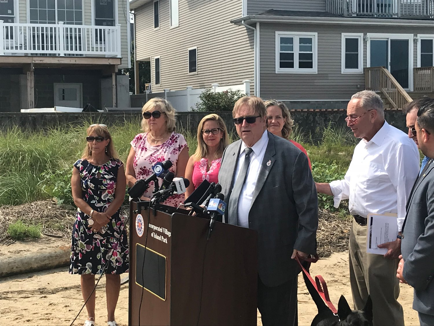 Island Park Mayor Michael McGinty and several elected officials called on the U.S. Army Corps of Engineers to extend the back bays study to ward off potential damage from future storms on Sept. 4.