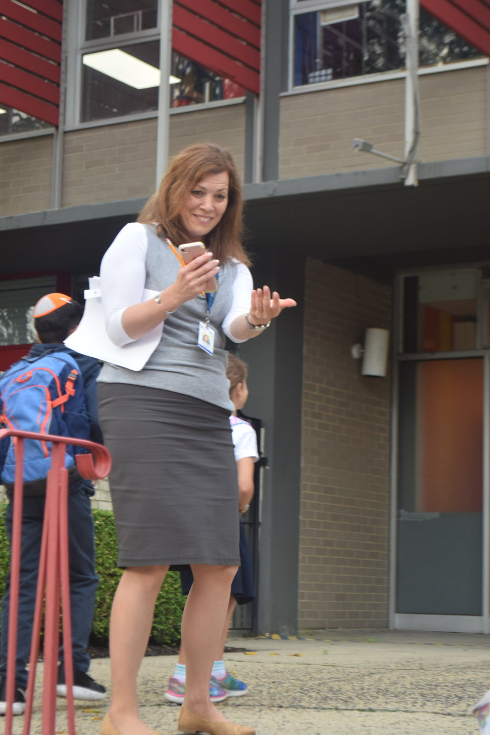 HAFTR Elementary School Assistant Principal Tova Tucker welcomed students back to school.