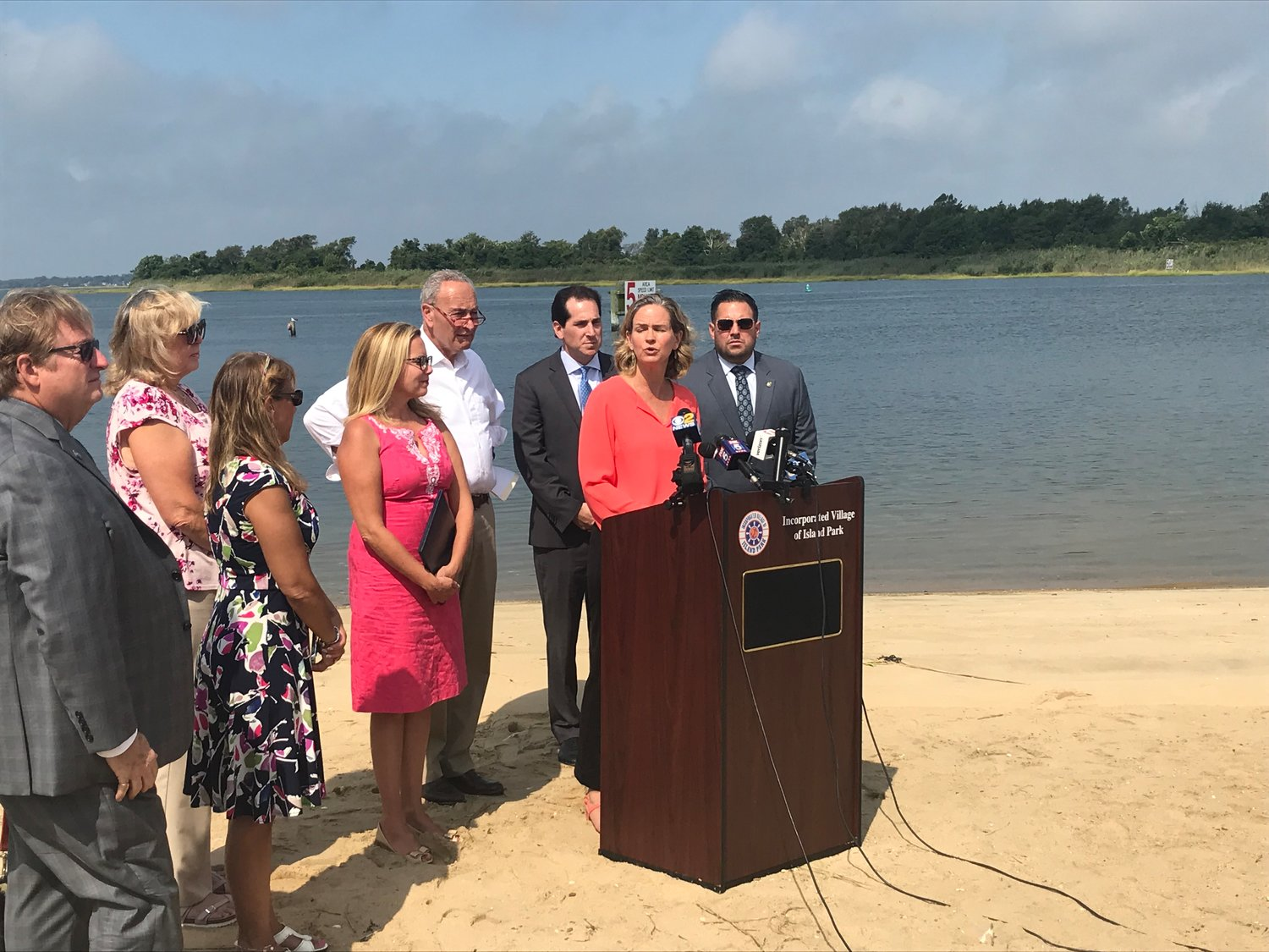 U.S. Sen. Chuck Schumer displayed satellite images of Hurricanes Sandy and Dorian at a Sept. 4 news conference, and urged the U.S. Army Corps of Engineers to renew funding for the Nassau County Back Bays Coastal Storm Risk Management Study.