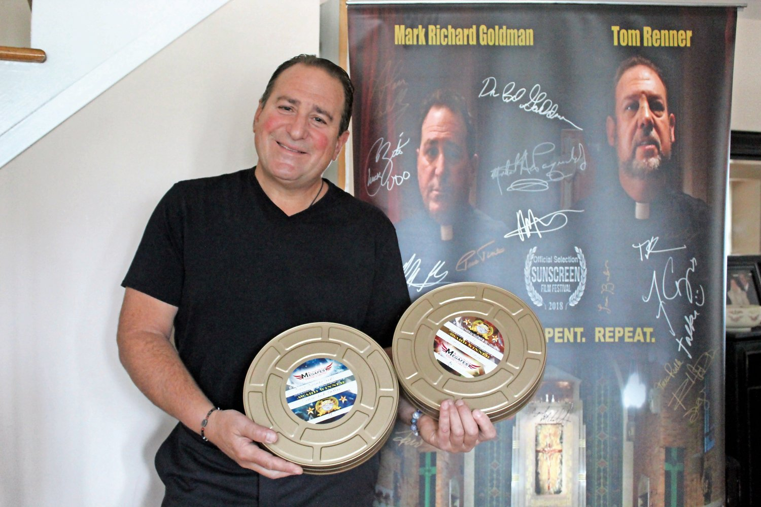 "Goldman, of Merrick, displayed his awards for Best Comedy Short and Best Comedy Scene from the 2018 Action On Film International Film Festival, which he won for his movie, ""Father and Father."""