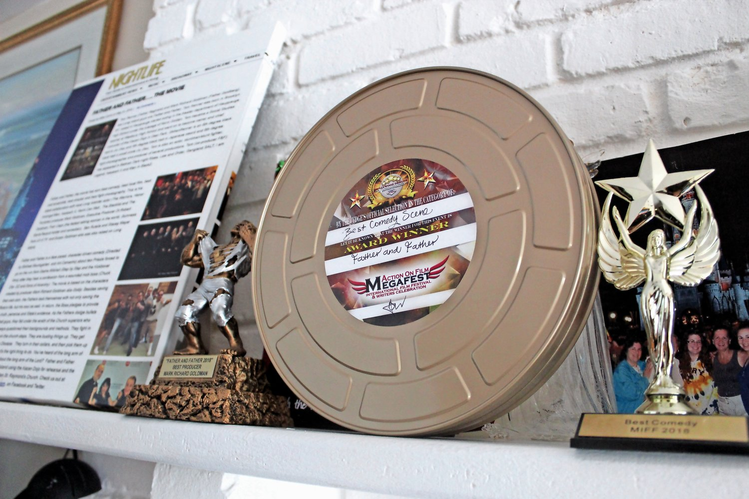 Lining the mantel of Goldman's home on Byron Road are awards he received from various film festivals and movie memorabilia.