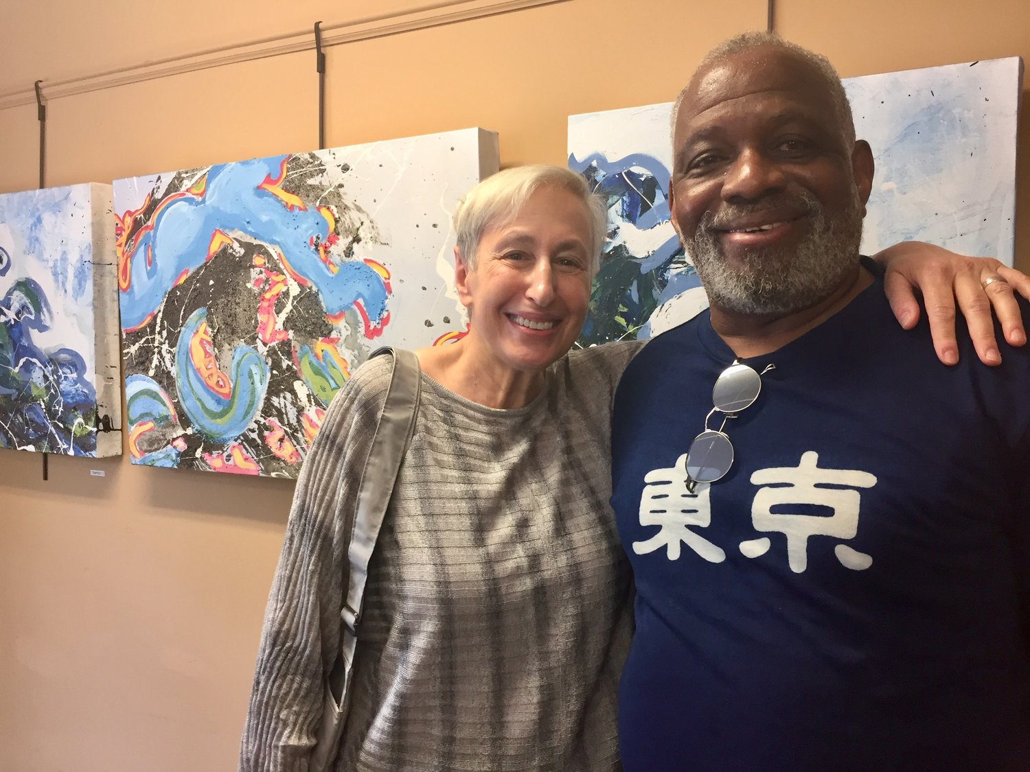 "Ilene and Fred Moore celebrated the opening of Fred's ""Making Waves"" art gallery fundraiser at the Glen Cove Senior Center on Sept. 5."