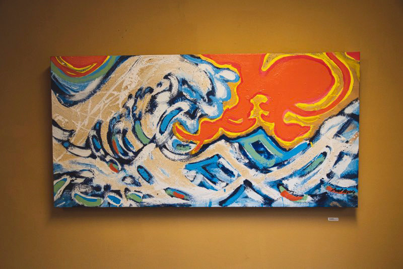 "Fred's paintings capture his love of Long Island Sound and Hempstead Harbor while paying tribute to Katsushika Hokusai's ""The Great Wave Off Kanagawa."""